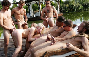 Hot blonde female Lola Taylor getting gangbanged on lakeside boat dock