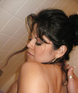 Busty Latina girlfriend Evie Delatosso riding cock in bathroom