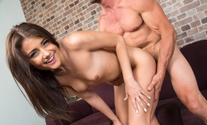 Adria Rae seems more than pleased to spin this large cock in her tiny holes