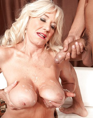 Big boobed blonde granny Summeran Winters getting banged by younger man