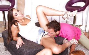 Euro swingers Carla Crouz and Sam Brook getting banged in foursome