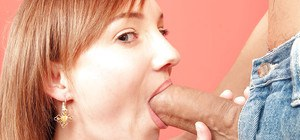 Redhead sweetie Lena Hartley fills mouth with a huge cock gets cum on face