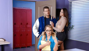 Busty babe in glasses and a miniskirt goes dirty with some dude in the office