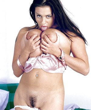 European fatty Linsey Dawn McKenzie fingers her holes and squeezes huge boobs