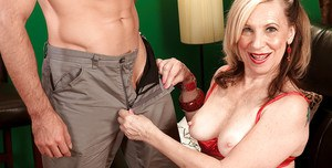 Elegant granny with saggy tits Miranda Torri is still hungry about young cocks