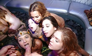Wild party turns nasty once the babes grab cock in their wet vags and throat