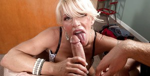Older blonde lady Gina West swallowing mouthful of cum after blowing younger