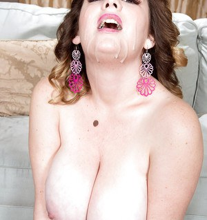Big boobed BBW Harmony White swallowing jizz after hardcore fuck session