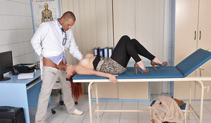 Chubby European redhead Leila Moon tit fucking and blowing her doctor