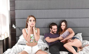Horny females Hope Howell and Kimmy Granger share large dick during threesome
