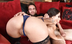 Latina pornstar Jynx Maze banging and sucking off big cock in black stockings