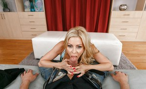 Blond mother Alexis Fawx giving large dick oral sex before vaginal penetration