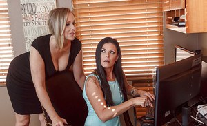 Naughty cougars Julia Ann and India Summer having 3some with huge dick on desk