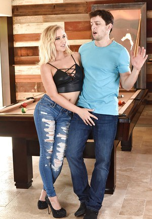 Blonde Bailey Brooke delights with cock up the pussy while playing pool