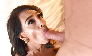 Slim brunette Janice Griffith amazing sex and heavy cock sucking