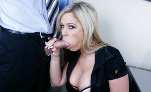 Blonde office whore Ahryan Astyn cock sucking and cum swallow in POV