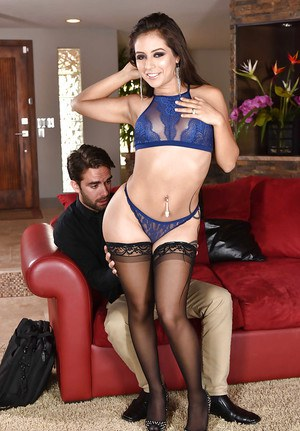 Top lingerie babe Jynx Maze kneels to suck cock until fully loaded with cum