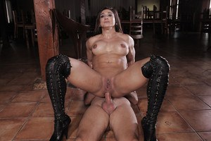Hot Karyn gets muscular man to shag her perfect pussy and ass