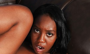 Ebony amateur Nina Devon undressed for hairy bush banging and creampie