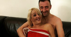 Aged blonde lady Bethany Richards getting throat fucked by Santa