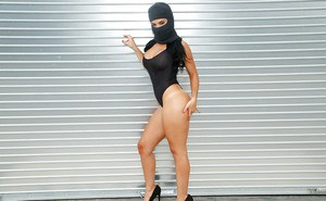 Latina female Dylan Daniels flashing big boobs while wearing ski mask
