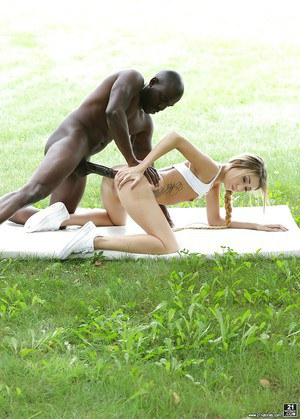 Petite blonde Empera getting ass fucked by large black cock in teh park