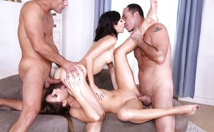 Superb chicks Ally and Arian go wild in a groupsex action get cum in pussies