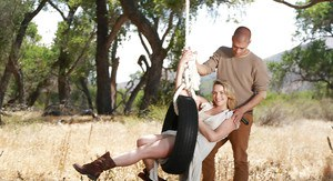 Top pornstar Mia Malkova stripped naked for anal sex in cowgirl boots in field