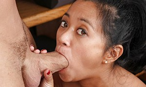 Asian first timer Lucky having hairy pussy licked out and fucked