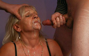 Blonde granny Anna A taking double penetration and jizz on face