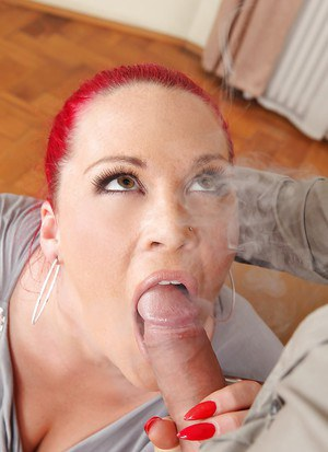 European fatty with big tits and red hair Paige Delight gets throat fucked