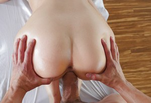 Oiled blonde beauty Kylie Page receiving jizz on nice melons from masseur