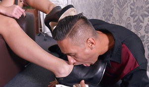 Beautiful blonde domme Kayla Green abusing male sex slave in high heels