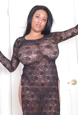 Ebony fatty with huge tits Danni Lynne plays with boobs and shows black pussy