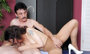 Middle-aged amateur Marie offering hairy cunt in crotchless hose