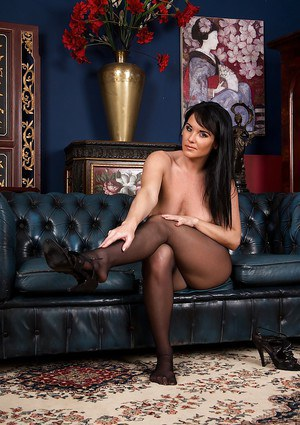 Seductive MILF Danielle Leah Raven taking her time rolling off her pantyhose