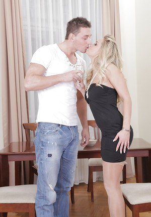 Blonde chick Barra Brass greets her date in black dress before having sex