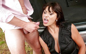 Horny mom Tera Joy participating in hardcore sex acts in the woods