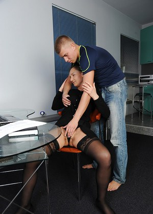 Older lady Svetlana seduces her student for sex during tutoring session