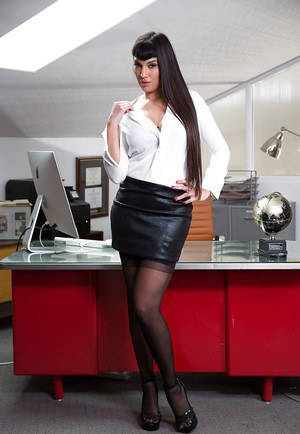 Sultry Latina secretary Mercedes Carrera stripping down to black stockings