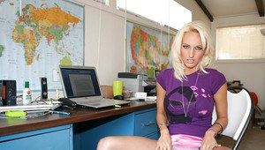 Sweet blonde chick Cody Love getting totally naked at office desk