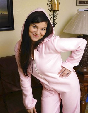 Brunette girlfriend Nina Turk flashing bare body parts from underneath her pjs