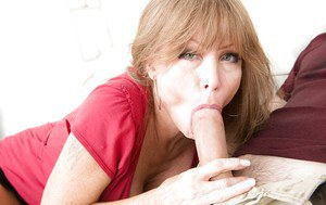 Middle aged broad Darla Crane sucking off younger guy that's hung like a horse