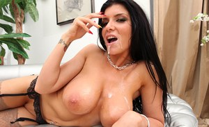 Top pornstar Romi Rain delivering a tit fuck and bj special before cum play