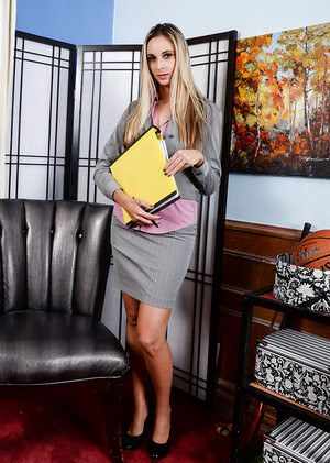 Hot secretary Allie Eve Knox taking off office attire to pose naked at work