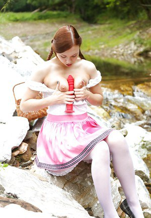 Pigtail wearing teen Morgan R pulling down her knickers to toy in the woods