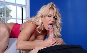 Blonde mature chick Gina West gives a masterful blowjob gets boobs jizzed