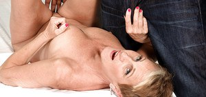 Over 50 lady Misty Luv giving it up to a man with a big black cock