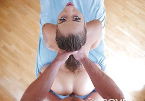 Busty female Layla London having her hair pulled during hard fuck on bed