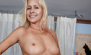 Hot older lady Payton Leigh removing see thru undies from wide open pussy